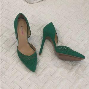 Deep kelly green suede heels